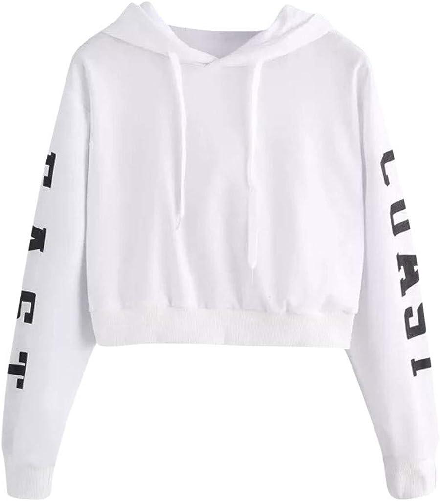 Women Sweatshirts Graphic Long Sleeve Solid Comfortable Drawstring Hoodie Crop Top Lightweight Sweatshirt for Women