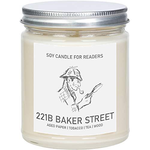 221B Baker Street - 8 oz Glass Jar Literary Soy Candle - Book Candle - Book Lover Gift - Soy Candle Handmade.