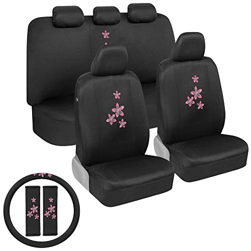 BDK Pink Flowers Car Seat Covers Full Set with Steering Wheel Cover and Seat Belt Pads – Front and Rear Covers with Matching Embroidered Accessories, Universal Fit for Cars Trucks Vans SUVs