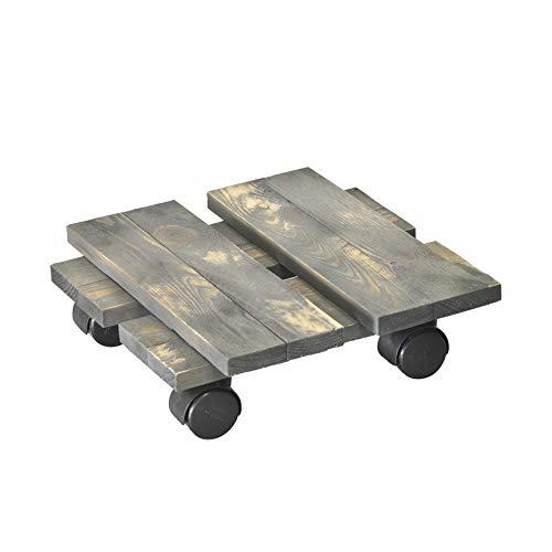 WAGNER Chariot de Plantes LOFT Shabby Chic 28 x 28 x 8 cm   pour intérieur, pin   Style rétro en Bois Massif ondulé, certifié FSC®, Brut de sciage, Anth.   Capacité de Charge 100 kg - 20085901
