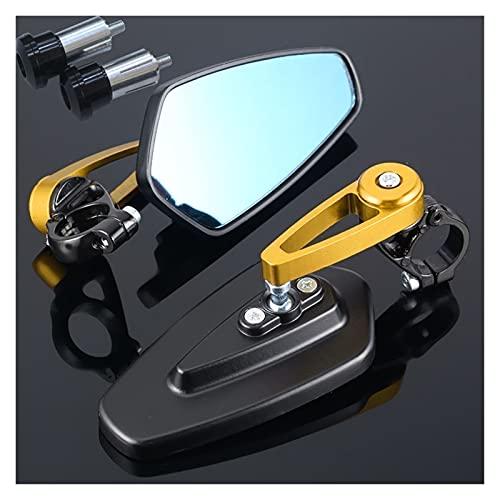 Espejos Moto para Honda Forza 125 Cbr1000Rr Plomo Varadero Xl1000 Cb600F Transalp 600 Espejo Retrovisor Lateral del Extremo del Manillar De La Motocicleta (Color : Gold)