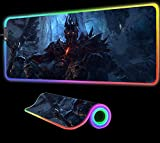 Gaming Mouse Pad World of Warcraft Gaming Mouse Pad Large LED Light RGB Waterproof Gamer Gaming XXL Mat Colors for Computer PC Gift,35.43 inch x15.74 inch
