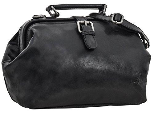 Umhängetasche Vintage Ledertasche Handtasche Arzttasche Schwarz Leder