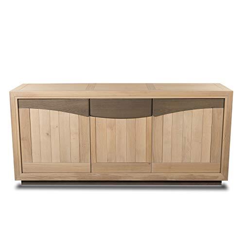 MUN PETIT Mueble francés aparador de 3 puertas de madera maciza de roble blanqueado y gris elefante
