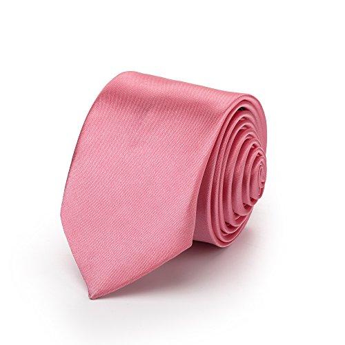 Rusty Bob - Ate delgada 3cm-5cm / estrecho para los hombres [para niños / niño] (universidad, no rayado) Poliéster brilla como la seda - Rosa / Pale