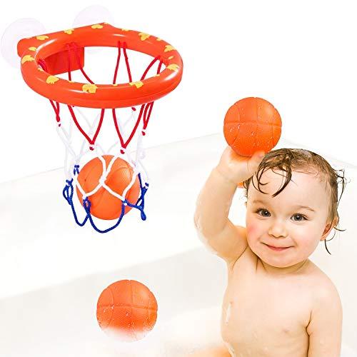LOVEXIU Juguetes Banera,Juguetes para El Bano Bebe,Mini Canasta Banera con Ventosas,Kit de Juguetes de Baño para Niños,Juguetes para La Bañera,Regalos para Bebé Niños Niñas(1 Canasta, 3 Bolas)