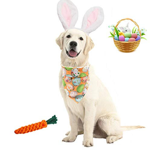 Viewm Easter Dog Eggs Bandana Bunny Ears Headbands with Chew Toys Carrot Triangle Scarf Outfits Pet Costume Adjustable Size Accessories for Small Medium Large Dogs, 3 Packs (Easter Eggs)