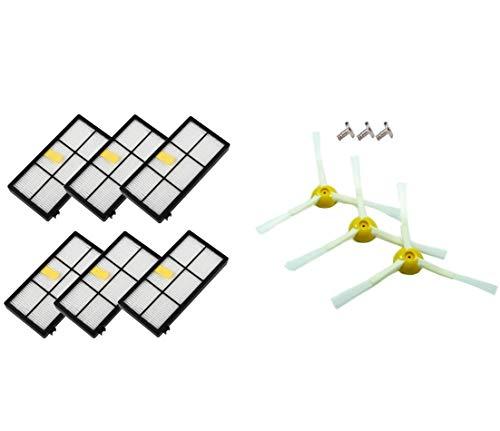 AplusTech Kit Accesorios de 6 Filtros y 3 Cepillos de 3-Armada + 3 Tornillos para iRobot Roomba Serie 800 y Serie 900.