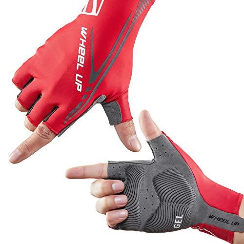 HIKENTURE Fahrradhandschuhe Halbfinger, Rennrad/MTB Radsporthandschuhe Männer Reflektierend, Fahrrad Handschuhe Fingerlos, Ideales Fahrrad Fitness Zubehör-Red-L