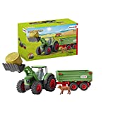 Schleich Farm World, Farm Toys for Boys and Girls Ages 3-8, 8-Piece Playset, Tractor with Trailer