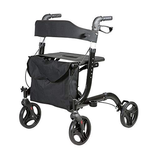 CARELINE Premium-Rollator Famos, faltbar, höhenverstellbar, mit Stockhalter und großer Tasche, maximale Belastbarkeit 130 kg