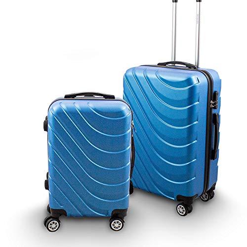 BERWIN® Kofferset M + L 2-teilig Reisekoffer Trolley Hartschalenkoffer ABS Teleskopgriff Modell Wave 2018 (Skyblau)