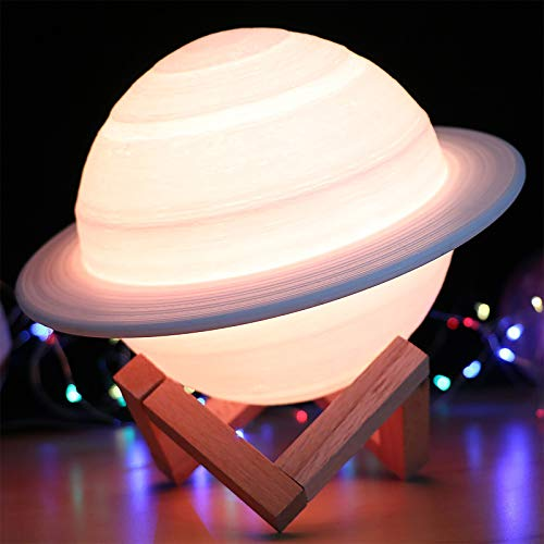 LOREMYI Moon Lamp, 16 Colors LED 3D Print Decor Star Lamp Rechargeable Night Light with Wood Stand Remote & Touch Control Planetary Lamp Home Decoration & Gifts for Children, Friends