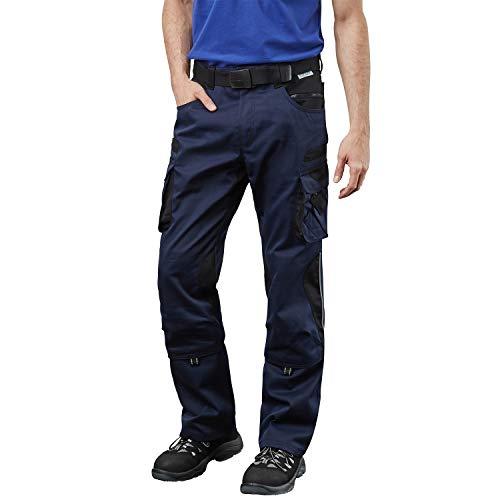 Pionier ® workwear Bundhose Arbeitshose | reißfest strapazierfähig UV-Schutz | Cargohose mit Handytasche Kniepolstertasche Stauraum | Marine/schwarz 50