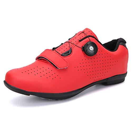 ZYSM Zapatillas de Ciclismo de montaña para Hombre, compatibles con Tacos SPD, Buenas para Bicicleta de Spinning, Todoterreno y MTB,Red b,45