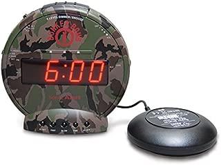 振動型目覚まし時計 Sonic Bomb スーパーボム 大音量 113db バイブレーション で寝坊防止 サイレントバイブで快適目覚め LED 5段階調光 ボリューム調整 スヌーズ設定 最大90分 (カモフラ)