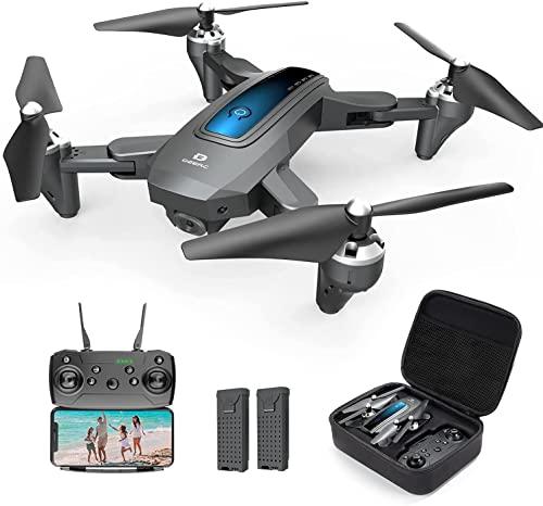 DRONE pieghevole D10 con fotocamera for adulti 108 0P HD FPV. Live Video Tap Fly Gesture Control Selfie Altitudine Tenere la modalità senza testa Rc. Quadcopter for principianti con 2 batterie e custo