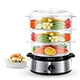 Aigostar Fitfoodie Steel 30INA - Electric steamer 0% BPA. 800W power, timer, 3 independent cooking levels and stainless steel base. Healthy cooking. Exclusive design.