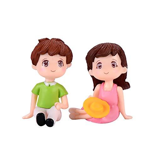 Whiie891203 Miniatur-Feengarten, 2 Stück, Mini-Figuren für Mädchen und Jungen, sitzend nach oben, Landschaft, Ornament, DIY-Dekoration – Grün / Pink