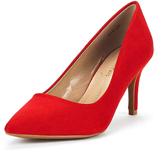 DREAM PAIRS Women's KUCCI Red Suede Classic Fashion Pointed Toe High Heel Dress Pumps Shoes Size 8.5 M US
