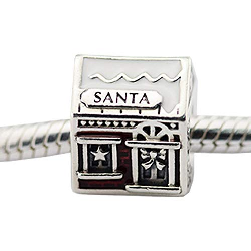 Diy Christmas Beads 925 Sterling Silver Mixed Enamel Santa Home Fit Charms Bracelets Jewelry For Women Men Gift