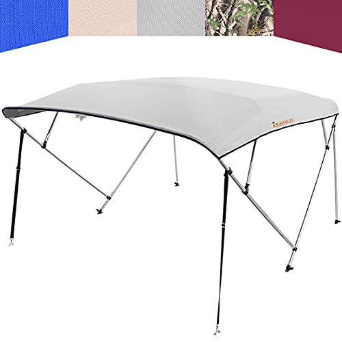 """KING BIRD 4 Bow Bimini Boat Top Cover Sun Shade Boat Canopy Waterproof 1 Inch Stainless Aluminum Frame 54"""" Height with Rear Support Poles and Storage Boot (Grey, 91""""-96"""")"""