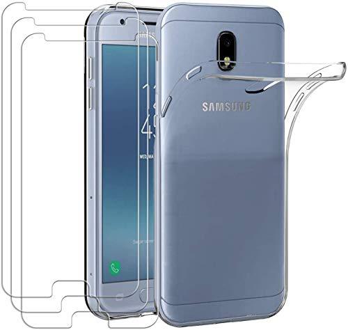 HongMan Funda para Samsung Galaxy J3 2017/J330 + [3 Unidades] Cristal Templado Protector de Pantalla, Ultra Fina Silicona Transparente TPU Carcasa Protector Airbag Anti-Choque Anti-arañazos Caso