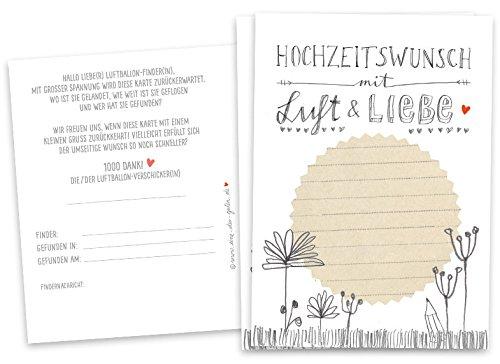50 Ballonflugkarten - Hochzeitswunsch mit Luft & Liebe - für Hochzeit, Geburtstag, Taufe,...