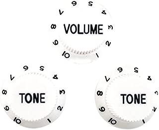 TOOGOO White Black 1 Volume&2 Tone Guitar Control Knobs For Strat Style Guitar