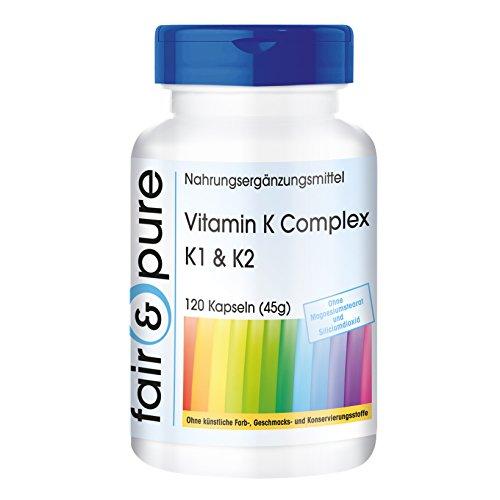 Vitamina K1 y K2 - Complejo de Vitamina K - Vegano - Alta pureza - 120 Cápsulas
