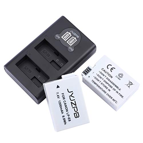 JYJZPB 2-Pack LP-E8 Battery and LCD Dual Battery Charger for Canon EOS Rebel T5i, Suitable for Vlogger, Instagram Player, Outdoor Photographer