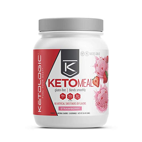 KetoLogic Keto Meal Replacement Shake Powder for Optimal Results + MCT Oil + Grass-Fed Whey - Perfectly Formulated Macros for Ketosis - 20 Servings - Strawberry