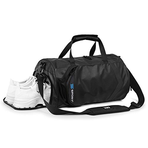 INOXTO Fitness Sport Small Gym Bag with Shoes Compartment Waterproof Travel Duffel Bag for Women and Men (black-update)