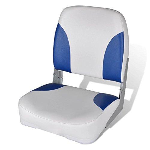 Festnight- Klappbar Bootssitz | Gepolstert Steuerstuhl Bootsstuhl Anglerstuhl | Kunstleder UV-best?ndig Blau-wei? 41 x 36 x 48 cm