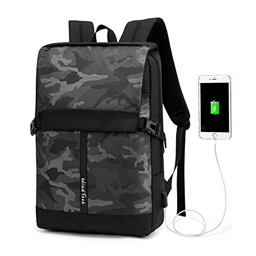 WindTook Mochila Hombre Trabajo con Puerto Carga USB para Portátil Ordenador 15.6 Pulgadas