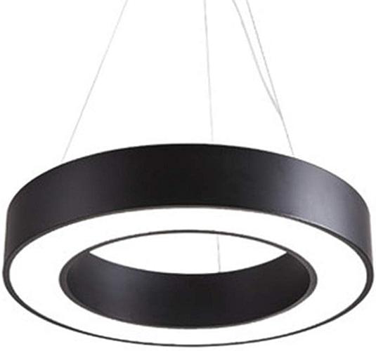 Vinteen Métal LED Lustre Creux Cercle Bureau Suspension Lumière Simple Rond Acrylique Restaurant Bar Comptoir Salon Pendentif Lumières Ingénierie Lumière 60 Cm Plafond Noir (Couleur   Warm lumière-40cm)