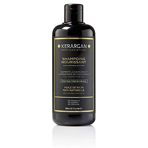Kerargan - Shampoing à l'Huile de Ricin et d'Argan Stimule la Pousse des cheveux, Anti-chute, Hydrate, Sans Sulfate sans Paraben sans Silicone