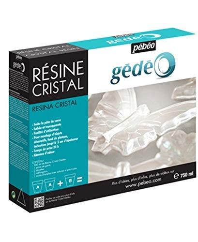 Pébéo - Gédéo Kit Résine Cristal 750 ML - Résine Époxy Transparente Effet Pâte de Verre - Pébéo Cristal - Pour Inclusion, Coulage, Moulage, Vernis - Résine Compatible Bois & Autres Matériaux 750 ML