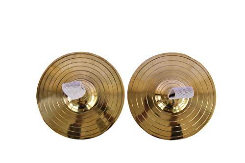 De Kulture Hi Hat Becken aus reinem Messing, Manjira Paar Musical Percussion Instrumenten-Set - 15,2 cm (Zoll) für Schlagzeug Bhajans Kirtans (Golden)