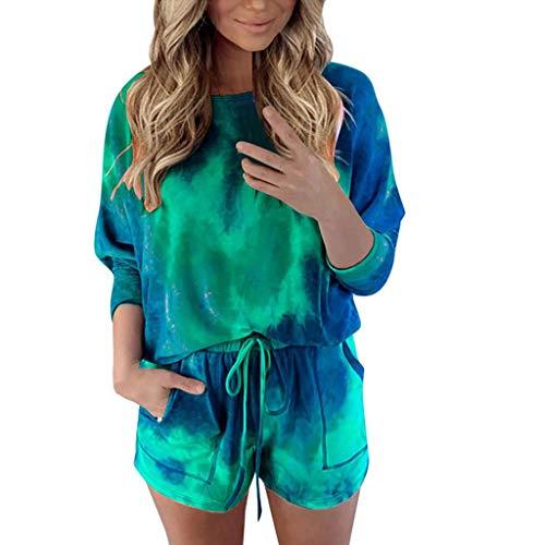Xniral Damen Pyjama Schlafanzug Kurz Tie-Dye Bedruckte Nachtwäsche Nachthemd Hausanzug Set (i Grün, L)
