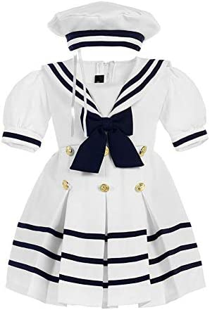 iGirlDress Baby Toddler Girls Nautical Sailor Dress with Hat 2T White product image