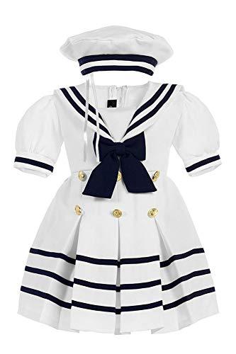 iGirlDress Baby Toddler Girls Nautical Sailor Dress with Hat 2T White