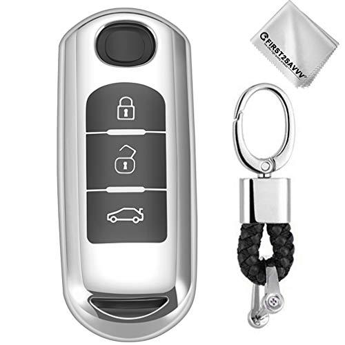 Plata Funda para Llave Smart Key para Coche Mazda CX-9 CX-7 CX-5 CX-4 Mazda 8 6 3 MX5 3 Buttons Carcasa Protectora [Suave] de [Silicona]