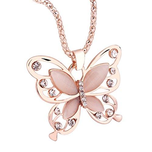 Tinksky Collar Largo de Las Mujeres de Oro Rosa ópalo Mariposa Colgante...