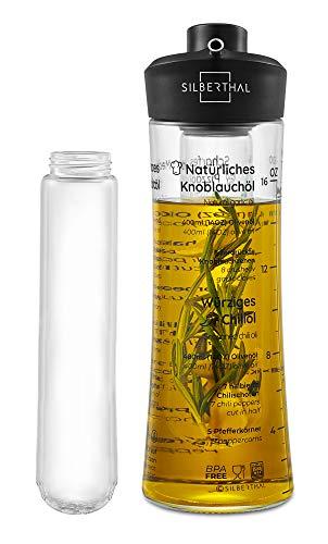 SILBERTHAL Oliera salvagoccia | Oliera in Vetro 500 ml | Bottiglia Olio | Oliera con infusore | Dispensatore Olio e aceto Cucina