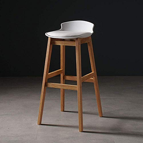 WTT hardhouten barkruk met voetensteun, rond, voor theke café, keuken, ontbijt, pub, stoel, modern, eenvoudige massief houten standaard, gitaar, Nordic tafel, huishouden, vrije tijd, zwart + eiken voet