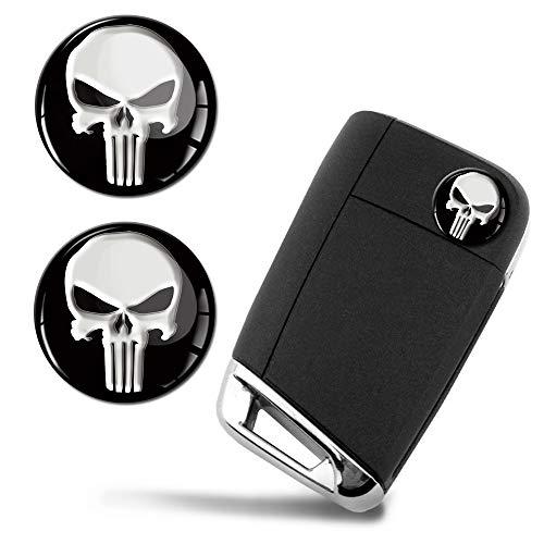 SkinoEu® 2 x Ø14mm The Punisher Emblem Aufkleber Stickers Für Fernbedienung Auto Moto Logo Key Badge Tuning KS 161