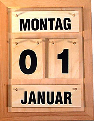Kalender im Halbformat mit schwarzer Schrift und Zahlen