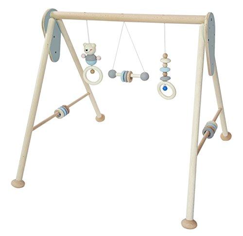 Hess Holzspielzeug 13381 - Spielgerät aus Holz, Serie Bär, für Babys, handgefertigter Spielbogen mit Figuren und Rasseln, nature blau, ca. 60 x 58 x 55 cm
