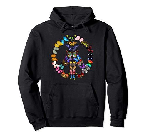 AZSTEEL Peace Sign Love Butterflies 60's Retro Gift Pullover Hoodie | Black Novelty Unisex Lightweight Pullover Hoodie
